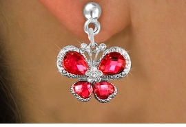 <BR>      WHOLESALE BUTTERFLY JEWELRY<bR>                  EXCLUSIVELY OURS!! <Br>              AN ALLAN ROBIN DESIGN!!<BR>        LEAD, NICKEL & CADMIUM FREE!! <BR>   W1398SE - SILVER TONE AND RUBY RED<BR>  CRYSTAL BUTTERFLY CHARM EARRINGS <BR>          FROM $4.95 TO $10.00 �2013