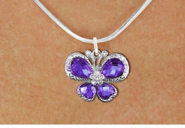 <BR>      WHOLESALE BUTTERFLY NECKLACE<bR>                    EXCLUSIVELY OURS!! <Br>                AN ALLAN ROBIN DESIGN!! <BR>       CLICK HERE TO SEE 1000+ EXCITING <BR>          CHANGES THAT YOU CAN MAKE! <BR>         LEAD, NICKEL & CADMIUM FREE!! <BR>  W1397SN - SILVER TONE AND PURPLE <BR> CRYSTAL BUTTERFLY CHARM AND NECKLACE <BR>             FROM $5.55 TO $9.00 �2013
