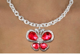 <BR>      WHOLESALE BUTTERFLY TOGGLE NECKLACE<bR>                    EXCLUSIVELY OURS!! <Br>                AN ALLAN ROBIN DESIGN!! <BR>       CLICK HERE TO SEE 1000+ EXCITING <BR>          CHANGES THAT YOU CAN MAKE! <BR>         LEAD, NICKEL & CADMIUM FREE!! <BR> W1398SN - SILVER TONE AND RUBY RED <BR> CRYSTAL BUTTERFLY CHARM AND NECKLACE <BR>             FROM $5.55 TO $9.00 �2013