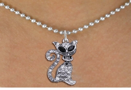<BR>               WHOLESALE CAT JEWELRY <bR>                   EXCLUSIVELY OURS!! <Br>              AN ALLAN ROBIN DESIGN!! <BR>     CLICK HERE TO SEE 1000+ EXCITING <BR>           CHANGES THAT YOU CAN MAKE! <BR>        LEAD, NICKEL & CADMIUM FREE!! <BR>     W1438SN - SILVER TONE WITH CLEAR <BR>      CRYSTAL CAT CHARM AND NECKLACE <BR>            FROM $5.90 TO $9.35 �2013