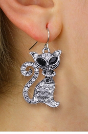 <BR>    WHOLESALE CAT LOVER JEWELRY <bR>              EXCLUSIVELY OURS!! <Br>         AN ALLAN ROBIN DESIGN!! <BR>   LEAD, NICKEL & CADMIUM FREE!! <BR>  W1438SE - SILVER TONE WITH CLEAR <BR> AND JET CRYSTAL CAT CHARM EARRINGS <BR>      FROM $5.40 TO $10.45 �2013
