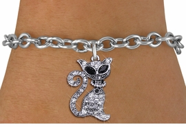 <BR>     WHOLESALE CAT RESCUE JEWELRY <bR>                EXCLUSIVELY OURS!! <Br>           AN ALLAN ROBIN DESIGN!! <BR>  CLICK HERE TO SEE 1000+ EXCITING <BR>        CHANGES THAT YOU CAN MAKE! <BR>     LEAD, NICKEL & CADMIUM FREE!! <BR> W1438SB - SILVER TONE JET AND CLEAR <BR>    CRYSTAL CAT CHARM & BRACELET <BR>         FROM $5.50 TO $9.35 �2013