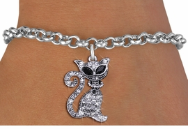 <BR>     WHOLESALE CAT RESCUE JEWELRY <bR>                EXCLUSIVELY OURS!! <Br>           AN ALLAN ROBIN DESIGN!! <BR>  CLICK HERE TO SEE 1000+ EXCITING <BR>        CHANGES THAT YOU CAN MAKE! <BR>     LEAD, NICKEL & CADMIUM FREE!! <BR> W1438SB - SILVER TONE JET AND CLEAR <BR>    CRYSTAL CAT CHARM & BRACELET <BR>         FROM $5.15 TO $9.00 �2013