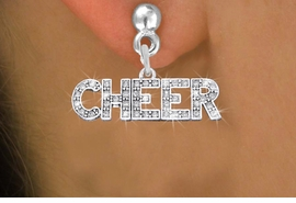 "<BR>      WHOLESALE CHEER EARRING<bR>              EXCLUSIVELY OURS!! <Br>         AN ALLAN ROBIN DESIGN!! <BR>   LEAD, NICKEL & CADMIUM FREE!! <BR> W1410SE - SILVER TONE AND CRYSTAL <BR>     ""CHEER"" WORD CHARM EARRINGS <BR>      FROM $4.95 TO $10.00 �2013"