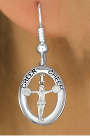 "<BR>      WHOLESALE CHEER EARRING<bR>                   EXCLUSIVELY OURS!! <BR>              AN ALLAN ROBIN DESIGN!!<BR>                 LEAD & NICKEL FREE!! <BR> W20030E -  SILVER TONE ""CHEER"" OVAL <BR> WITH POM POMS CHEERLEADER CHARM <BR>       ON A PAIR OF FISHHOOK EARRINGS <BR>            FROM $8.10 TO $18.00 �2013"
