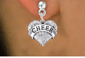 "<BR>      WHOLESALE CHEER JEWELRY<bR>               EXCLUSIVELY OURS!! <Br>          AN ALLAN ROBIN DESIGN!! <BR>    LEAD, NICKEL & CADMIUM FREE!! <BR> W1408SE - SILVER TONE ""CHEER"" CLEAR <BR>     CRYSTAL HEART CHARM EARRINGS <BR>       FROM $4.95 TO $10.00 �2013"