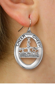 "<br>            WHOLESALE CHEER JEWELRY<bR>                  EXCLUSIVELY OURS!! <BR>             AN ALLAN ROBIN DESIGN!! <BR>                LEAD & NICKEL FREE!! <BR> W20283E -  SILVER TONE ""CHEER"" OVAL <BR>  WITH DETAILED ""CHEERLEADING"" CHARM <BR>      ON A PAIR OF FISHHOOK EARRINGS <BR>          FROM $8.10 TO $18.00 �2013"
