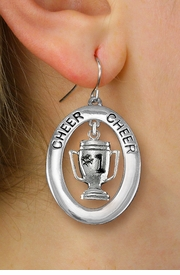 "<br>           WHOLESALE CHEER JEWELRY<bR>                   EXCLUSIVELY OURS!! <BR>              AN ALLAN ROBIN DESIGN!! <BR>                 LEAD & NICKEL FREE!! <BR>  W20285E -  SILVER TONE ""CHEER"" OVAL <BR>  WITH FREE-HANGING ""#1"" TROPHY CHARM <BR>       ON A PAIR OF FISHHOOK EARRINGS <BR>           FROM $8.10 TO $18.00 �2013"