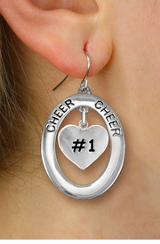 "<br>           WHOLESALE CHEER JEWELRY<bR>                   EXCLUSIVELY OURS!! <BR>              AN ALLAN ROBIN DESIGN!! <BR>                 LEAD & NICKEL FREE!! <BR>  W20287E -  SILVER TONE ""CHEER"" OVAL <BR>   WITH FREE-HANGING ""#1"" HEART CHARM <BR>       ON A PAIR OF FISHHOOK EARRINGS <BR>           FROM $8.10 TO $18.00 �2013"