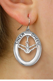 "<br>         WHOLESALE CHEERLEADER JEWELRY <bR>                    EXCLUSIVELY OURS!! <BR>               AN ALLAN ROBIN DESIGN!! <BR>                  LEAD & NICKEL FREE!! <BR>   W20343E -  SILVER TONE ""CHEER"" OVAL <BR> WITH CHEERLEADER IN SPLITS POSE CHARM <BR>        ON A PAIR OF FISHHOOK EARRINGS <BR>            FROM $8.10 TO $18.00 �2013"