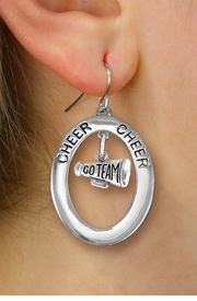 "<br>         WHOLESALE CHEERLEADER JEWELRY <bR>                    EXCLUSIVELY OURS!! <BR>               AN ALLAN ROBIN DESIGN!! <BR>                  LEAD & NICKEL FREE!! <BR>   W20347E -  SILVER TONE ""CHEER"" OVAL <BR>  WITH SILVER TONE ""GO TEAM"" MEGAPHONE <BR>  CHARM ON A PAIR OF FISHHOOK EARRINGS <BR>            FROM $8.10 TO $18.00 �2013"