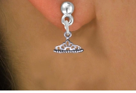 <br>      WHOLESALE CHILDRENS EARRINGS <bR>                EXCLUSIVELY OURS!! <BR>           AN ALLAN ROBIN DESIGN!! <BR>     CADMIUM, LEAD & NICKEL FREE!! <BR>    W1434SE - DETAILED SILVER TONE <Br>     PRINCESS TIARA CHARM EARRINGS <BR>         FROM $3.25 TO $8.00 �2013