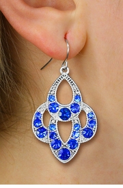 <BR>        WHOLESALE COSTUME EARRINGS <Br>    CADMIUM, LEAD AND NICKEL FREE!! <Br>     W20520E - ANTIQUED SILVER TONE <BR>       ORNATE BLUE CRYSTAL EARRINGS <Br>          FROM $3.94 TO $8.75 �2013