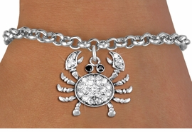 <BR>      WHOLESALE CRAB JEWELRY<bR>                EXCLUSIVELY OURS!! <Br>           AN ALLAN ROBIN DESIGN!! <BR>  CLICK HERE TO SEE 1000+ EXCITING <BR>        CHANGES THAT YOU CAN MAKE! <BR>     LEAD, NICKEL & CADMIUM FREE!! <BR> W1421SB - SILVER TONE CRAB JET AND <BR>    CLEAR CRYSTAL CHARM & BRACELET <BR>         FROM $5.15 TO $9.00 �2013