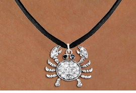 <BR>      WHOLESALE CRAB NECKLACE<bR>                   EXCLUSIVELY OURS!! <Br>              AN ALLAN ROBIN DESIGN!! <BR>     CLICK HERE TO SEE 1000+ EXCITING <BR>           CHANGES THAT YOU CAN MAKE! <BR>        LEAD, NICKEL & CADMIUM FREE!! <BR> W1421SN - SILVER TONE CRAB WITH JET <BR>& CLEAR CRYSTAL CHARM AND NECKLACE <BR>            FROM $5.55 TO $9.00 �2013