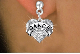 "<BR>      WHOLESALE DANCE EARRING<bR>              EXCLUSIVELY OURS!! <Br>         AN ALLAN ROBIN DESIGN!! <BR>   LEAD, NICKEL & CADMIUM FREE!! <BR> W1414SE - SILVER TONE ""DANCE"" CLEAR <BR>    CRYSTAL HEART CHARM EARRINGS <BR>      FROM $4.95 TO $10.00 �2013"