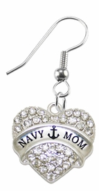 "<BR>    WHOLESALE ""NAVY MOM"" FASHION EARRING  <bR>                      EXCLUSIVELY OURS!!  <Br>                 AN ALLAN ROBIN DESIGN!!  <BR>           NICKEL,   LEAD, & CADMIUM FREE!!  <BR>      W1751E1 -  SILVER TONE AND  <BR>CLEAR CRYSTAL ""NAVY MOM"" CHARM  <BR>     ON SURGICAL STEEL FISHHOOK EARRINGS <BR>              FROM $5.98 TO $12.85 �2015"
