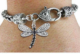 <BR>      WHOLESALE DRAGONFLY BRACELET<bR>                    EXCLUSIVELY OURS!! <BR>                AN ALLAN ROBIN DESIGN!! <BR>                    LEAD & NICKEL FREE!! <BR> W1393SB - SILVER TONE AND JET CRYSTAL<BR>    DRAGONFLY CHARM ON HEART SHAPED <BR>               LOBSTER CLASP BRACELET <Br>            FROM $5.63 TO $12.50 �2013