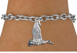 <BR>   WHOLESALE DUCK HUNTING JEWELRY <bR>                 EXCLUSIVELY OURS!! <Br>            AN ALLAN ROBIN DESIGN!! <BR>   CLICK HERE TO SEE 1000+ EXCITING <BR>         CHANGES THAT YOU CAN MAKE! <BR>      LEAD, NICKEL & CADMIUM FREE!! <BR> W1505SB - SILVER TONE AND AUSTRIAN <BR>    CLEAR CRYSTAL FLYING DUCK CHARM <BR>   BRACELET FROM $5.50 TO $9.35 �2013