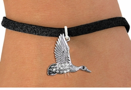 <BR>   WHOLESALE DUCK HUNTING JEWELRY <bR>                 EXCLUSIVELY OURS!! <Br>            AN ALLAN ROBIN DESIGN!! <BR>   CLICK HERE TO SEE 1000+ EXCITING <BR>         CHANGES THAT YOU CAN MAKE! <BR>      LEAD, NICKEL & CADMIUM FREE!! <BR> W1505SB - SILVER TONE AND AUSTRIAN <BR>    CLEAR CRYSTAL FLYING DUCK CHARM <BR>   BRACELET FROM $5.15 TO $9.00 �2013