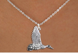 <BR>        WHOLESALE DUCK HUNTING NECKLACE <bR>                    EXCLUSIVELY OURS!! <Br>               AN ALLAN ROBIN DESIGN!! <BR>      CLICK HERE TO SEE 1000+ EXCITING <BR>            CHANGES THAT YOU CAN MAKE! <BR>         LEAD, NICKEL & CADMIUM FREE!! <BR>     W1505SN - SILVER TONE AND GENUINE <BR>   AUSTRIAN CRYSTAL FLYING DUCK CHARM  <BR>    NECKLACE FROM $5.55 TO $9.00 �2013