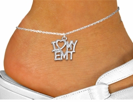 "<bR>       WHOLESALE EMT ANKLET JEWELRY <BR>                  EXCLUSIVELY OURS!! <BR>             AN ALLAN ROBIN DESIGN!! <BR>       CADMIUM, LEAD & NICKEL FREE!! <BR>    W1498SAK - BEAUTIFUL SILVER TONE <Br>     ""I LOVE MY EMT"" CHARM & ANKLET <BR>           FROM $3.65 TO $8.30 �2013"