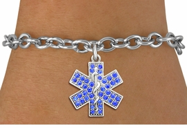 <BR>  WHOLESALE EMT BRACELET JEWELRY<bR>                EXCLUSIVELY OURS!! <Br>           AN ALLAN ROBIN DESIGN!! <BR>  CLICK HERE TO SEE 1000+ EXCITING <BR>        CHANGES THAT YOU CAN MAKE! <BR>     LEAD, NICKEL & CADMIUM FREE!! <BR>    W1468SB - SILVER TONE AND BLUE <BR> CRYSTAL EMT CROSS CHARM & BRACELET <BR>         FROM $5.50 TO $9.35 �2013
