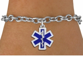 <BR>  WHOLESALE EMT BRACELET JEWELRY <bR>                EXCLUSIVELY OURS!! <Br>           AN ALLAN ROBIN DESIGN!! <BR>  CLICK HERE TO SEE 1000+ EXCITING <BR>        CHANGES THAT YOU CAN MAKE! <BR>     LEAD, NICKEL & CADMIUM FREE!! <BR> W1496SB - SILVER TONE BLUE AND WHITE <BR> FILL EMT CROSS WITH CADUCEUS CHARM <BR>  BRACELET FROM $5.50 TO $9.35 �2013