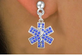 <BR>   WHOLESALE EMT CHARM EARRINGS! <bR>              EXCLUSIVELY OURS!! <Br>         AN ALLAN ROBIN DESIGN!! <BR>   LEAD, NICKEL & CADMIUM FREE!! <BR>  W1468SE - SILVER TONE AND BLUE <BR> CRYSTAL EMT CROSS CHARM EARRINGS <BR>      FROM $5.40 TO $10.45 �2013