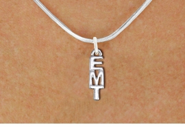 "<br>        WHOLESALE EMT COSTUME JEWELRY <bR>                   EXCLUSIVELY OURS!! <BR>              AN ALLAN ROBIN DESIGN!! <BR>     CLICK HERE TO SEE 1000+ EXCITING <BR>           CHANGES THAT YOU CAN MAKE! <BR>        CADMIUM, LEAD & NICKEL FREE!! <BR>        W1497SN - SMALL SILVER TONE <BR>    VERTICAL ""EMT"" CHARM & NECKLACE <BR>             FROM $4.55 TO $8.00 �2013"
