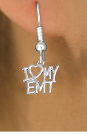 "<br>        WHOLESALE EMT EARRINGS <bR>                 EXCLUSIVELY OURS!! <BR>            AN ALLAN ROBIN DESIGN!! <BR>      CADMIUM, LEAD & NICKEL FREE!! <BR>    W1498SE - BEAUTIFUL SILVER TONE <Br>    ""I LOVE MY EMT"" CHARM EARRINGS <BR>          FROM $3.65 TO $8.40 �2013"