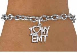 "<br>      WHOLESALE EMT FASHION BRACELET <bR>                    EXCLUSIVELY OURS!!<BR>               AN ALLAN ROBIN DESIGN!!<BR>      CLICK HERE TO SEE 1000+ EXCITING<BR>            CHANGES THAT YOU CAN MAKE!<BR>         CADMIUM, LEAD & NICKEL FREE!!<BR>     W1498SB - BEAUTIFUL SILVER TONE <Br>    ""I LOVE MY EMT"" CHARM & BRACELET <BR>             FROM $4.50 TO $8.35 �2013"