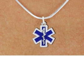<BR>       WHOLESALE EMT NECKLACE JEWELRY <bR>                   EXCLUSIVELY OURS!! <Br>              AN ALLAN ROBIN DESIGN!! <BR>     CLICK HERE TO SEE 1000+ EXCITING <BR>           CHANGES THAT YOU CAN MAKE! <BR>        LEAD, NICKEL & CADMIUM FREE!! <BR> W1496SN - SILVER TONE, BLUE AND WHITE <BR>  FILL EMT CROSS WITH CADUCEUS CHARM  <BR>   NECKLACE FROM $5.55 TO $9.00 �2013
