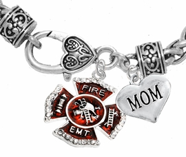 "<Br>              WHOLESALE EMT ON A MALTESE CROSS JEWELRY  <BR>                         AN ALLAN ROBIN DESIGN!! <Br>                   CADMIUM, LEAD & NICKEL FREE!!  <Br> W1720-1837B1  ""EMT  MOM"" HEART  <BR>  CHARMS ON HEART LOBSTER CLASP BRACELET <BR>            FROM $7.50 TO $9.50 �2016"
