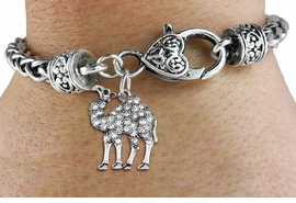 <BR>   WHOLESALE FASHION ANIMAL JEWELRY <bR>                 EXCLUSIVELY OURS!! <Br>            AN ALLAN ROBIN DESIGN!! <BR>      LEAD, NICKEL & CADMIUM FREE!! <BR> W1511SB - ANTIQUED SILVER TONE AND <BR>  GENUINE CLEAR CRYSTAL CAMEL CHARM <BR>    ON HEART LOBSTER CLASP BRACELET <Br>      FROM $5.63 TO $12.50 �2013