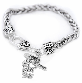 "<br>     WHOLESALE BALLET CHARM BRACELET  <bR>                 EXCLUSIVELY OURS!!   <BR>            AN ALLAN ROBIN DESIGN!!   <BR>      NICKEL, LEAD & CADMIUM FREE!!   <BR>    W1413B1 - DETAILED SILVER TONE   <Br>  ""ON YOUR TOES"" BALLET SHOES CHARM  <BR> ON ANTIQUED SILVERTONE BRACELET   <BR>          FROM $5.40 TO $9.85 �2015"