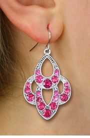 <BR>        WHOLESALE FASHION EARRINGS <Br>    CADMIUM, LEAD AND NICKEL FREE!! <Br>     W20518E - ANTIQUED SILVER TONE <BR>    ORNATE FUCHSIA CRYSTAL EARRINGS <Br>          FROM $3.94 TO $8.75 �2013