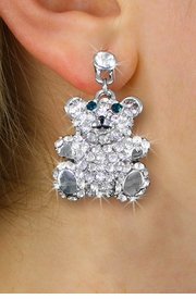 <BR>        WHOLESALE FASHION EARRINGS <Br>    CADMIUM, LEAD AND NICKEL FREE!! <Br>  W20540E - SILVER TONE TEDDY BEAR <BR>  CLEAR AND JADE CRYSTAL EARRINGS <Br>          FROM $7.31 TO $16.25 �2013