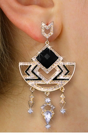 <BR>       WHOLESALE FASHION JEWELRY<Br>    CADMIUM, LEAD AND NICKEL FREE!! <Br>   W20364E - 2 TIERED GOLD TONE AND <BR>       JET BLACK STONE WITH CRYSTAL <BR>         ACCENTED DESIGNER EARRINGS <Br>               FROM $8.44 TO $18.75