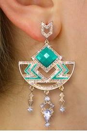 <BR>       WHOLESALE FASHION JEWELRY<Br>    CADMIUM, LEAD AND NICKEL FREE!! <Br>   W20365E - 2 TIERED GOLD TONE AND <BR>       TURQUOISE STONE WITH CRYSTAL <BR>         ACCENTED DESIGNER EARRINGS <Br>               FROM $8.44 TO $18.75