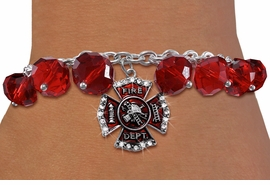 <BR>    WHOLESALE FIRE FIGHTER JEWELRY!! <bR>                  EXCLUSIVELY OURS!! <Br>             AN ALLAN ROBIN DESIGN!! <BR>       LEAD, NICKEL & CADMIUM FREE!! <BR>    W20323B - FIRE DEPARTMENT SHIELD <BR>  CRYSTAL CHARM & RED CRYSTAL TOGGLE <BR> BRACELET FROM $9.56 TO $21.25 �2013