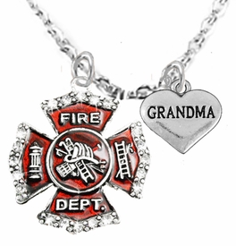 "<Br>WHOLESALE FIREFIGHTER MALTESE CROSS JEWELRY  <BR>                             AN ALLAN ROBIN DESIGN!! <Br>                    CADMIUM, LEAD & NICKEL FREE!!  <Br>     W1284-1832N1  ""FIREFIGHTER  GRANDMA"" HEART  <BR>      CHARMS ON ADJUSTABLE CHAIN NECKLACE<BR>                      FROM $7.50 TO $9.50 �2016"