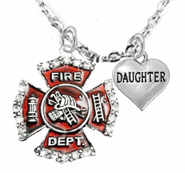 "<Br>WHOLESALE FIREFIGHTER MALTESE CROSS JEWELRY  <BR>                             AN ALLAN ROBIN DESIGN!! <Br>                    CADMIUM, LEAD & NICKEL FREE!!  <Br>     W1284-1831N1  ""FIREFIGHTER  DAUGHTER"" HEART  <BR>      CHARMS ON ADJUSTABLE CHAIN NECKLACE<BR>                      FROM $7.50 TO $9.50 �2016"