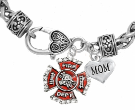 "<Br>              WHOLESALE FIREFIGHTER JEWELRY  <BR>                         AN ALLAN ROBIN DESIGN!! <Br>                   CADMIUM, LEAD & NICKEL FREE!!  <Br> W1284-1837B1  ""FIREFIGHTER  MOM"" HEART  <BR>  CHARMS ON HEART LOBSTER CLASP BRACELET <BR>            FROM $7.50 TO $9.50 �2016"