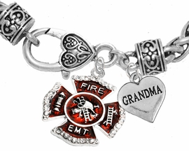 "<Br>              WHOLESALE EMT ON A MALTESE CROSS JEWELRY  <BR>                         AN ALLAN ROBIN DESIGN!! <Br>                   CADMIUM, LEAD & NICKEL FREE!!  <Br> W1720-1832B1  ""EMT  GRANDMA"" HEART  <BR>  CHARMS ON HEART LOBSTER CLASP BRACELET <BR>            FROM $7.50 TO $9.50 �2016"