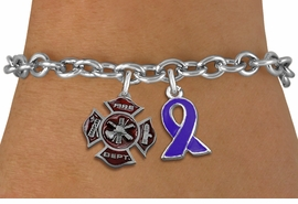 <BR>      WHOLESALE FIREFIGHTER JEWELRY<bR>           LEAD & NICKEL FREE!! <BR>  W20244B - FIRE DEPARTMENT AND <BR> PURPLE AWARENESS RIBBON CHARMS <BR>       ON TOGGLE CLASP BRACELET <BR>     FROM $5.06 TO $11.25 �2013
