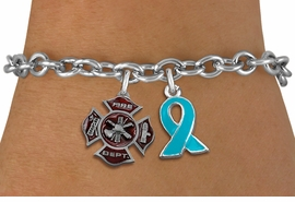 <BR>      WHOLESALE FIREFIGHTER JEWELRY<bR>           LEAD & NICKEL FREE!! <BR>  W20245B - FIRE DEPARTMENT AND <BR>   TEAL AWARENESS RIBBON CHARMS <BR>       ON TOGGLE CLASP BRACELET <BR>     FROM $5.06 TO $11.25 �2013