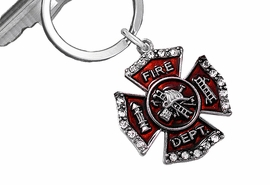 "<Br>    WHOLESALE FIREFIGHTER JEWELRY <Br>                LEAD & NICKEL FREE!!  <BR> W20331KC - CRYSTAL AND RED ENAMELED <Br> ""FIRE DEPT."" MALTESE CROSS KEY RING <Br>            FROM $4.16 TO $9.25 EACH"