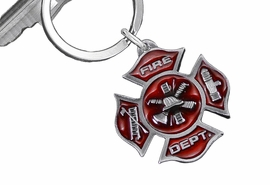 "<Br>    WHOLESALE FIREFIGHTER JEWELRY <Br>                LEAD & NICKEL FREE!! <BR> W20333KC - RED ENAMELED PEWTER TONE <Br> ""FIRE DEPT."" MALTESE CROSS KEY RING <Br>            FROM $4.16 TO $9.25 EACH"