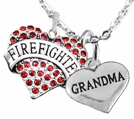 "<Br>WHOLESALE FIREFIGHTER MALTESE CROSS JEWELRY  <BR>                             AN ALLAN ROBIN DESIGN!! <Br>                    CADMIUM, LEAD & NICKEL FREE!!  <Br>     W1557-1832N1  ""FIREFIGHTER  GRANDMA"" HEART  <BR>      CHARMS ON ADJUSTABLE CHAIN NECKLACE<BR>                      FROM $7.50 TO $9.50 �2016"